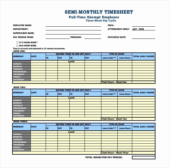 Basic Monthly Timesheet Template Fresh 26 Monthly Timesheet Templates Free Sample Example