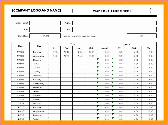 Basic Monthly Timesheet Template Fresh 9 Daily Timesheet Template Excel Free Download