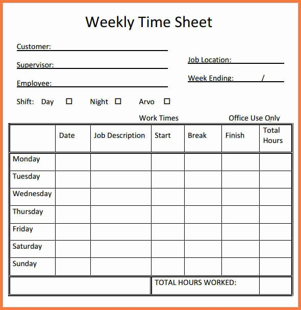Basic Monthly Timesheet Template New Simple Timesheet Template