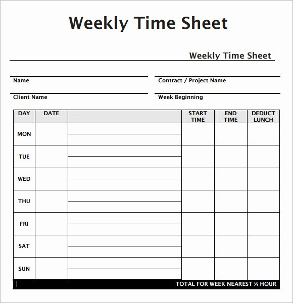 Basic Monthly Timesheet Template New Weekly Timesheet Template