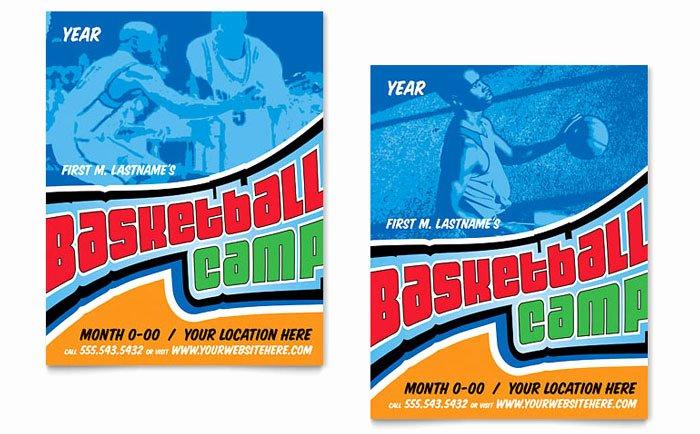 Basketball Camp Flyer Template Inspirational Basketball Sports Camp Poster Template Design