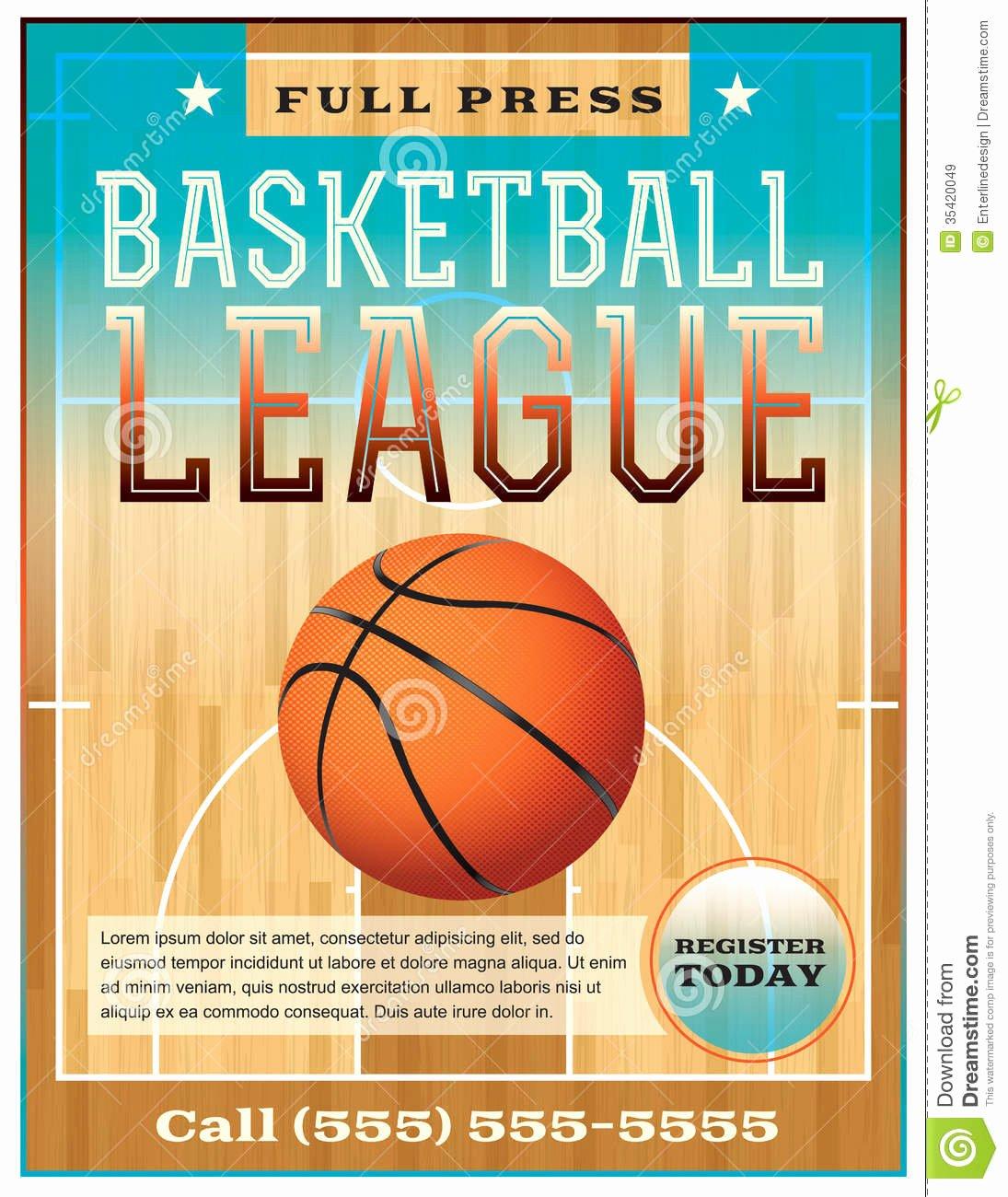 Basketball Camp Flyer Template Luxury Basketball League Flyer Stock Vector Illustration Of