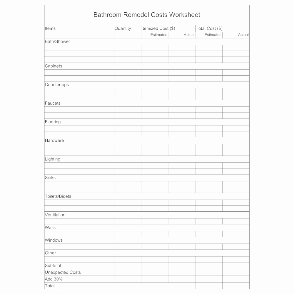 Bathroom Remodel Estimate Template Lovely Remodel Worksheet Bathroom