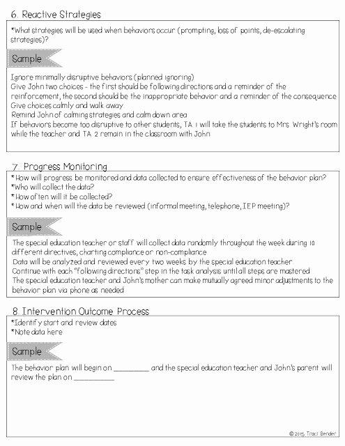 Behavior Intervention Plan Template Inspirational the Bender Bunch Creating A Behavior Intervention Plan Bip