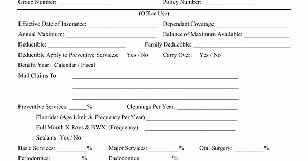 Benefit Enrollment form Template Fresh 17 Of Template for Dental Implants Insurance