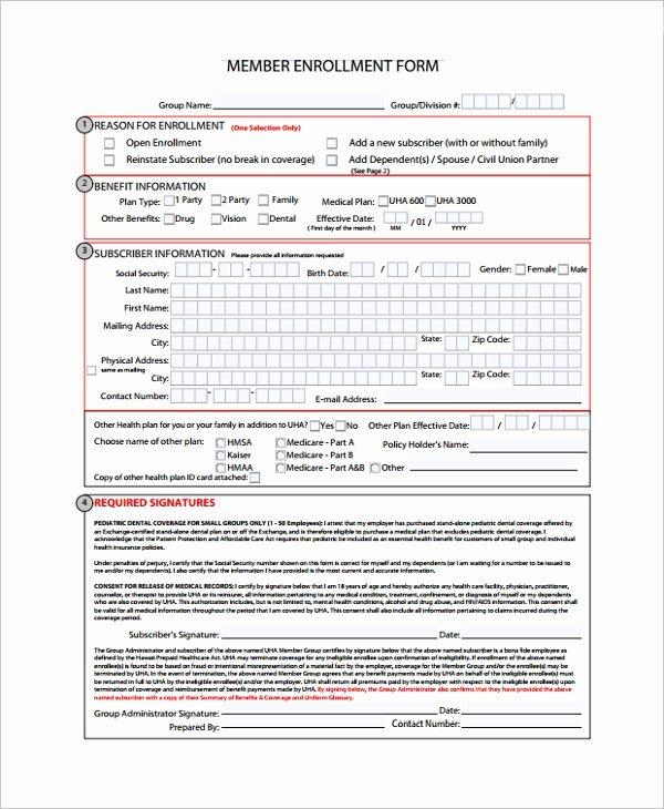 Benefit Enrollment form Template Fresh Sample Enrollment form 8 Documents In Pdf Word