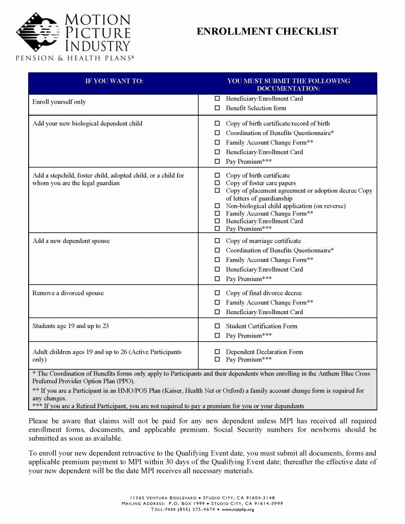 Benefit Enrollment form Template New Enrollment Checklist form
