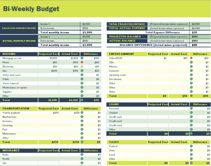 Bi Weekly Budget Excel Template Beautiful 26 Free Bi Weekly Bud Templates Ms Fice Documents
