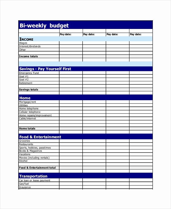 Bi Weekly Budget Excel Template Elegant 19 Simple Bud Planner Templates Word Pdf Excel
