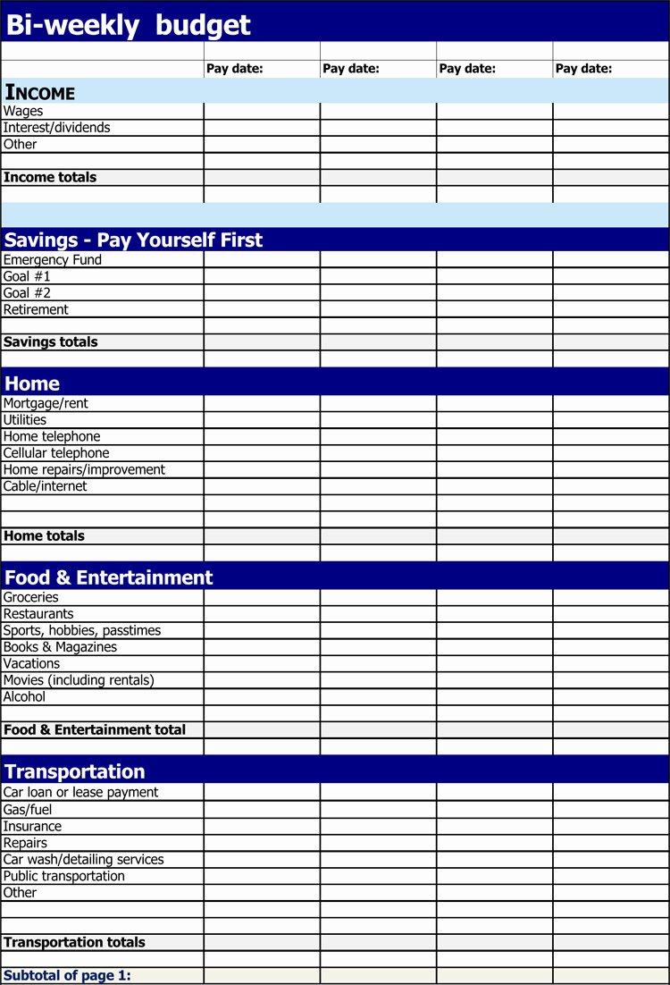 Bi Weekly Budget Excel Template Elegant 7 Bi Weekly Bud Templates