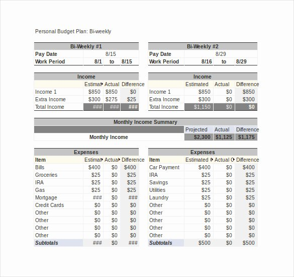 Bi Weekly Budget Excel Template Fresh 13 Weekly Bud Templates Free Sample Example format