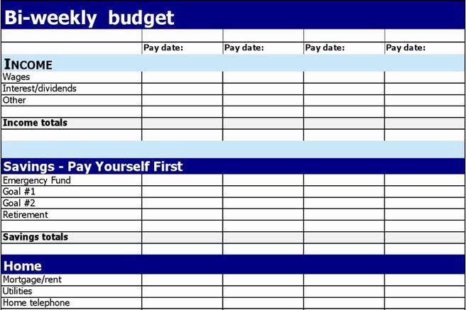 Bi Weekly Budget Excel Template Inspirational 1 Bi Weekly Bud Template Free Download
