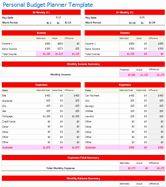 Bi Weekly Budget Excel Template Lovely Document Templates October 2015