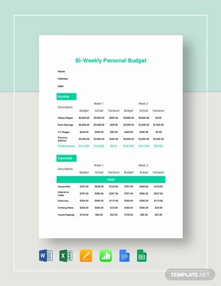 Bi Weekly Budget Excel Template Unique Free 9 Examples Of Bi Weekly Bud Templates In Google