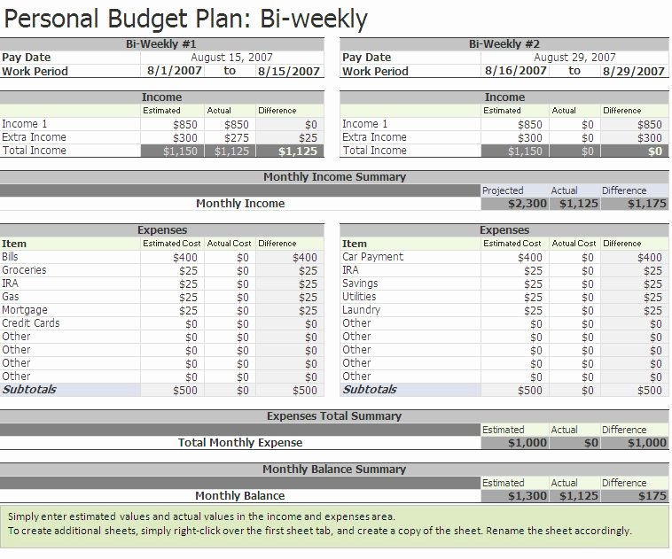 Bi Weekly Budget Excel Template Unique Free Biweekly Bud Excel Template