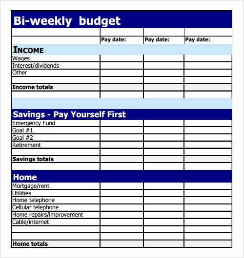 Bi Weekly Budget Template Best Of Sample Bud 8 Documents In Pdf Excel