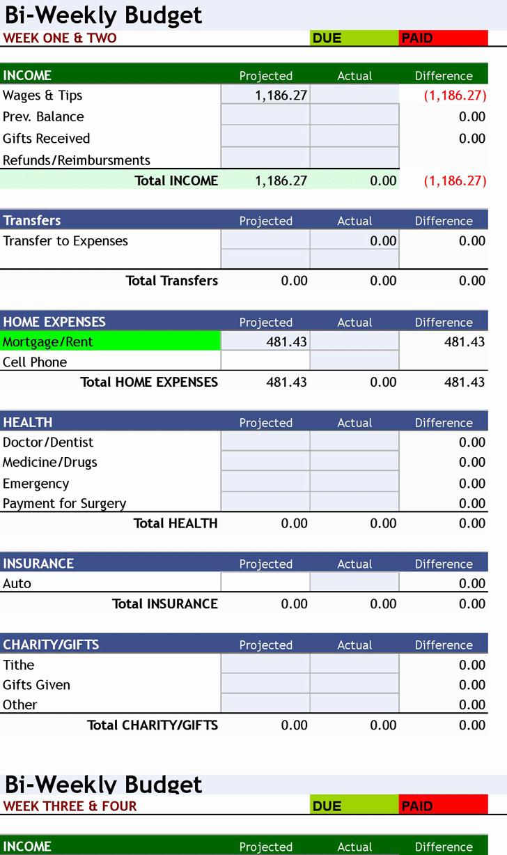 Bi Weekly Budget Template Fresh Free Download ° Bi Weekly Personal Bud ° Excel
