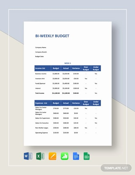 Bi Weekly Budget Template Lovely Biweekly Bud Template 8 Free Word Pdf Documents