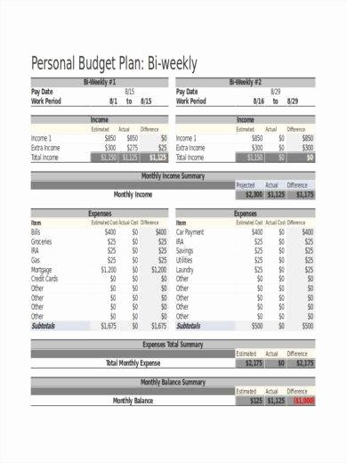 Bi Weekly Budget Template Luxury 23 Free Bi Weekly Bud Templates Ms Fice Documents