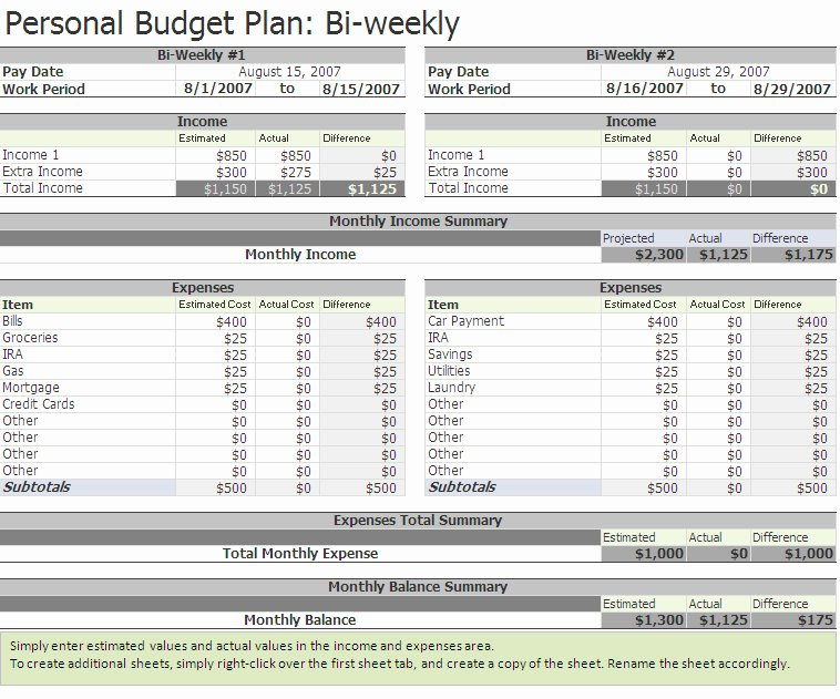 Bi Weekly Budget Template Unique Biweekly Bud