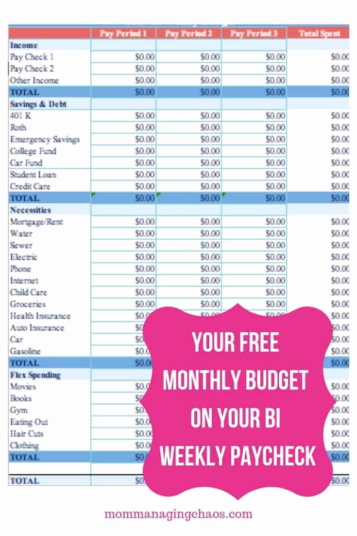 Bi Weekly Budget Template Unique How to Bud Bi Weekly Paychecks On A Monthly Bud