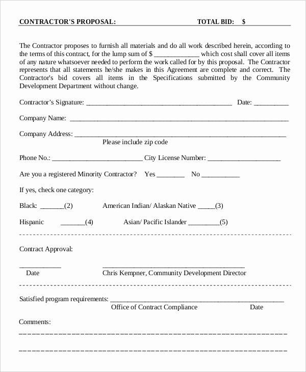 Bid Proposal Template Pdf Elegant Contractor Proposal Template Pdf