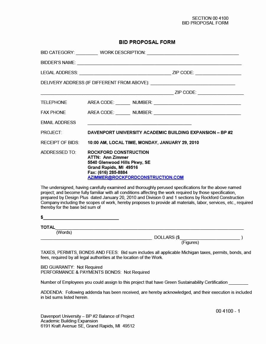 Bid Proposal Template Pdf Fresh 31 Construction Proposal Template & Construction Bid forms