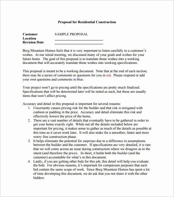 Bid Proposal Template Pdf Fresh Construction Proposal Template