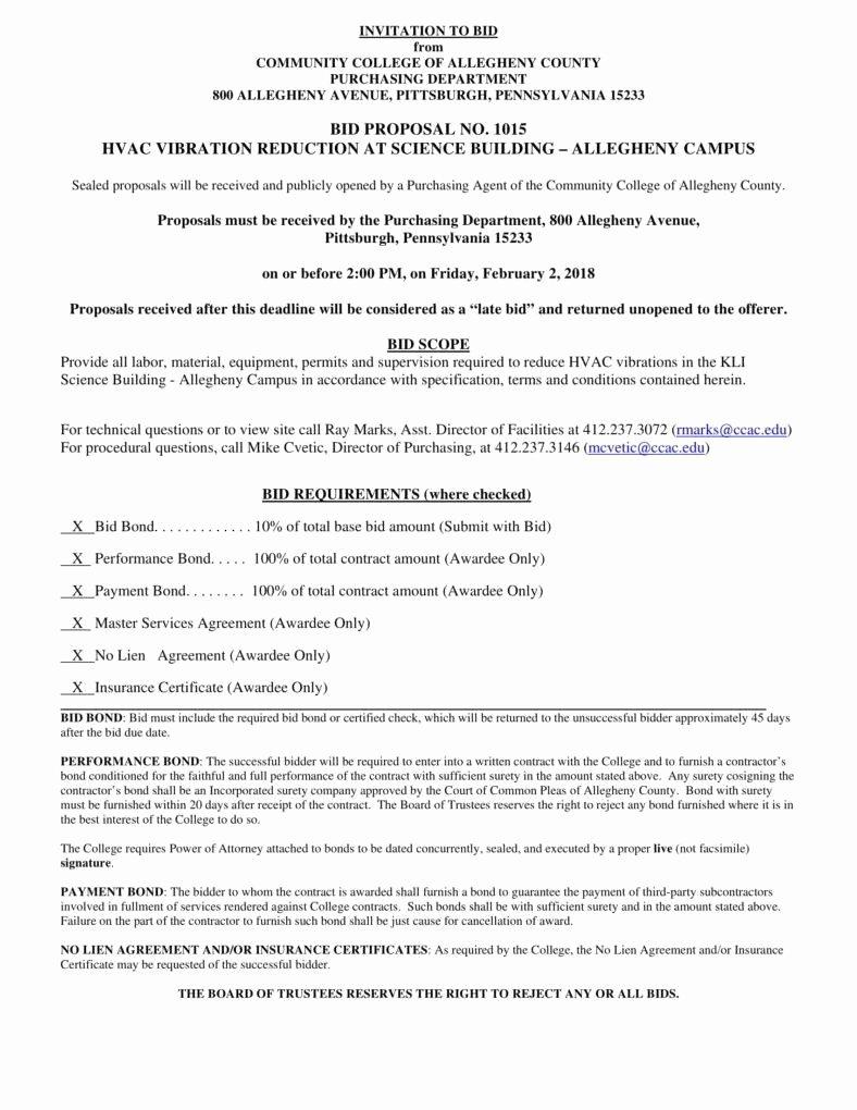 Bid Proposal Template Pdf Lovely 8 Hvac Proposal Templates Pdf