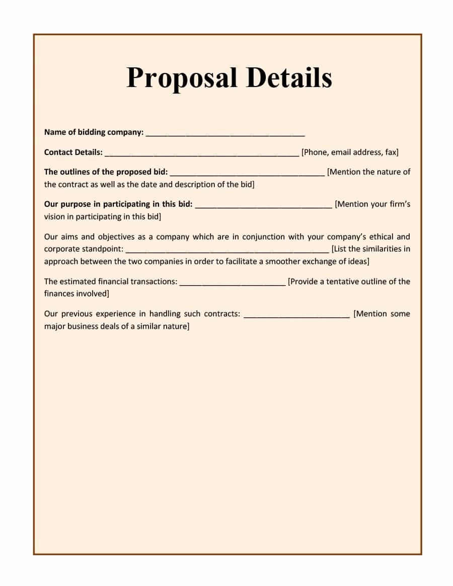 Bid Proposal Template Pdf New 31 Construction Proposal Template & Construction Bid forms