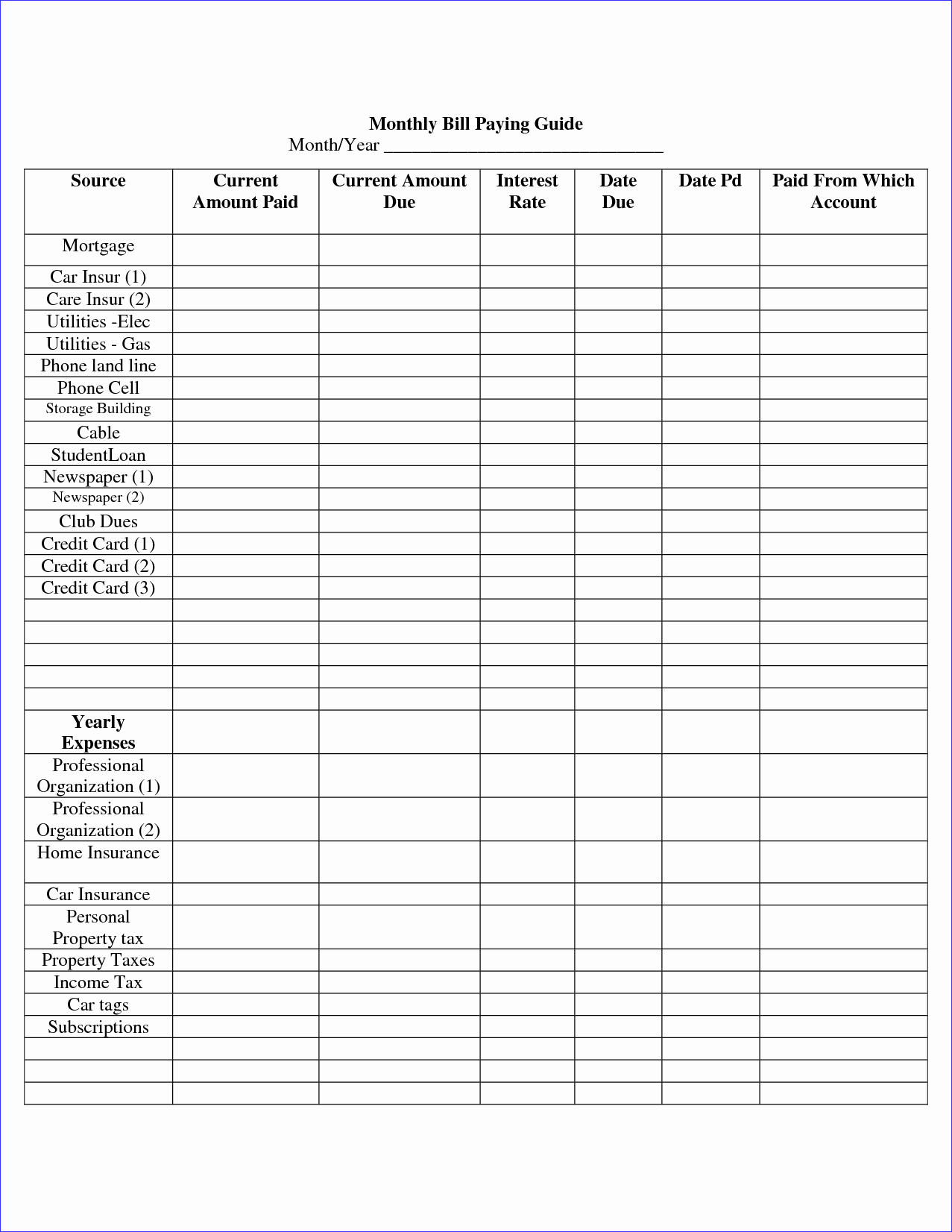 Bill organizer Template Excel Beautiful Simple Bill and Payment organizer Templates for Your