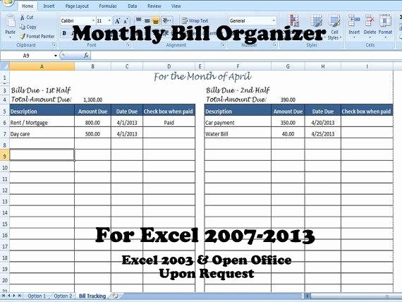 Bill organizer Template Excel Best Of Monthly Bill organizer Bill Tracker Calculates total Due