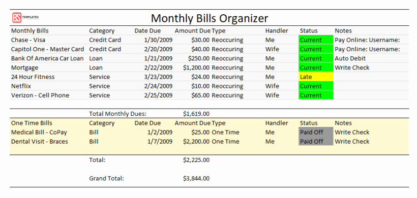 Bill organizer Template Excel Best Of Printable Monthly Bill organizer for Excel – Free Pdf Log