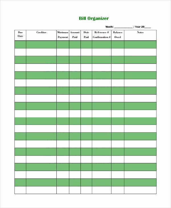 Bill organizer Template Excel Elegant Sample Bill organizer – 9 Examples In Pdf Word Excel In
