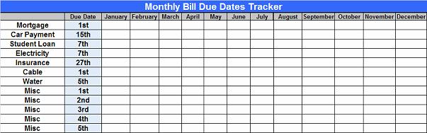 Bill organizer Template Excel New 10 Free Bill Tracker Spreadsheet Samplebusinessresume