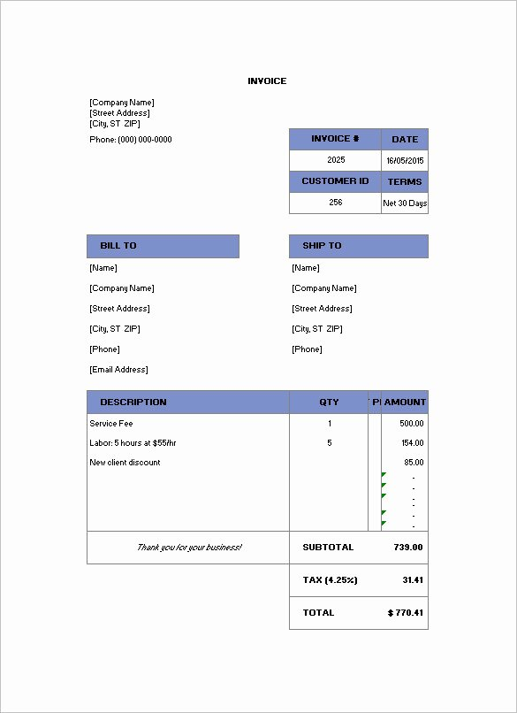 Billing Invoice Template Free Beautiful Billing Invoice Template 7 Free Printable Word Excel