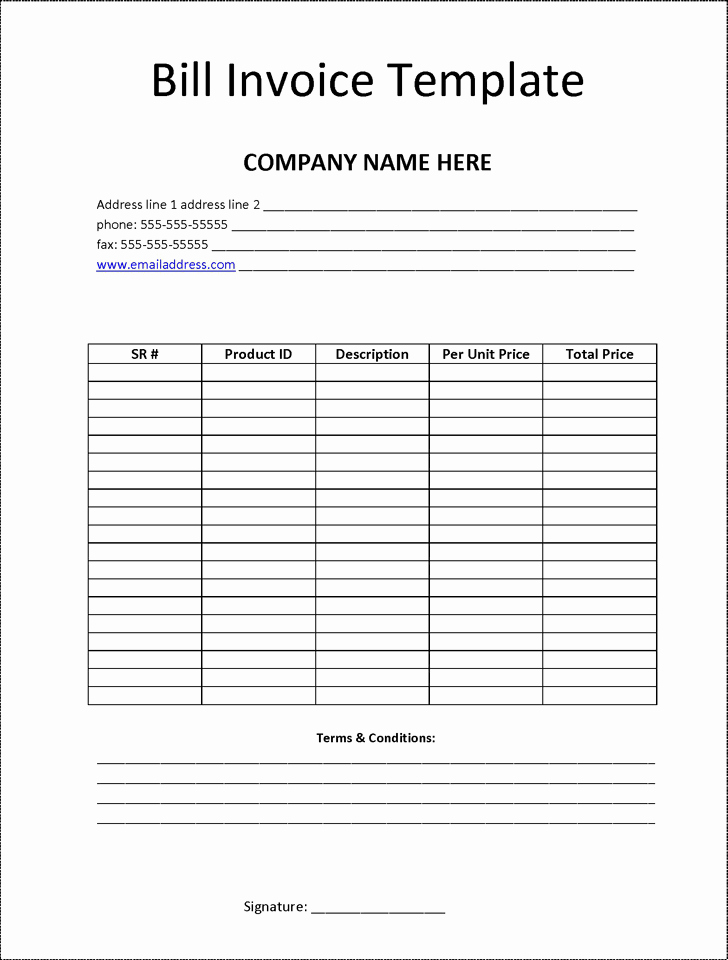 Billing Invoice Template Free Fresh Billing Invoice Template
