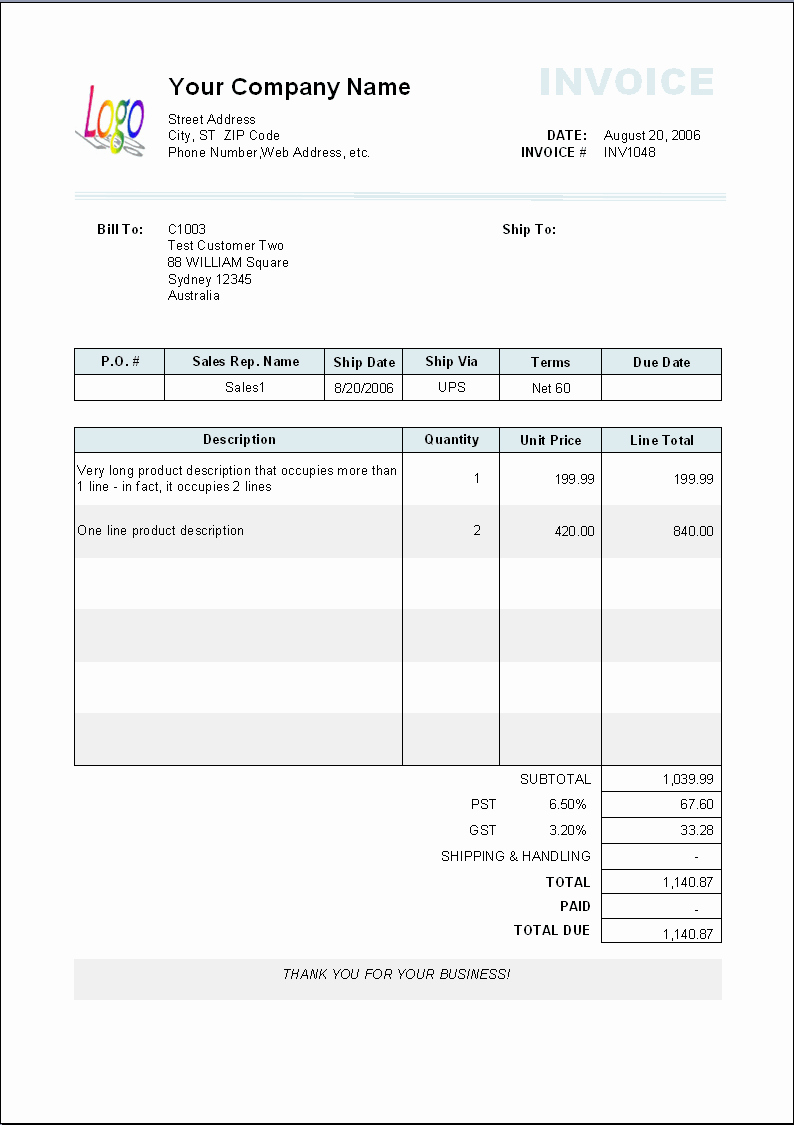 Billing Invoice Template Free Luxury Gift Shop Layout