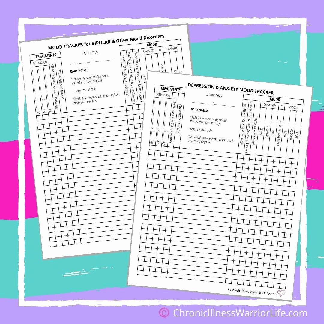 Bipolar Mood Chart Template Best Of Free Printable Mental Health Worksheets Chronic Illness