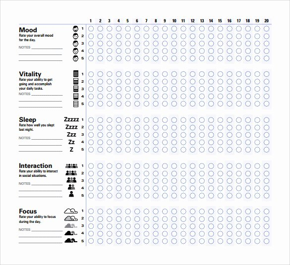 Bipolar Mood Chart Template Unique Sample Mood Chart forms 7 Download Free Documents In