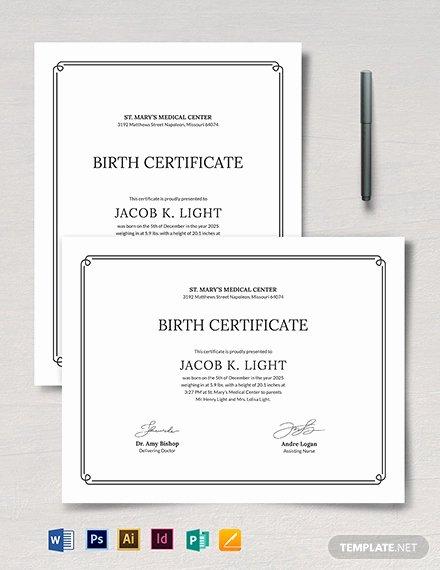 Birth Certificate Template Word Elegant Birth Certificate Template 38 Word Pdf Psd Ai
