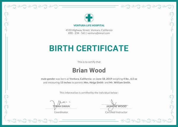 Birth Certificate Template Word Elegant Birth Certificate Template 44 Free Word Pdf Psd
