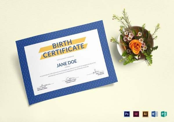Birth Certificate Template Word Unique Sample Birth Certificate 22 Documents In Word Pdf