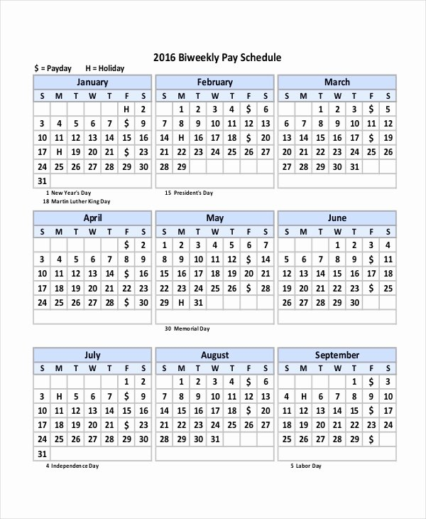 Biweekly Pay Schedule Template Beautiful Payroll Calendar Template 10 Free Excel Pdf Document
