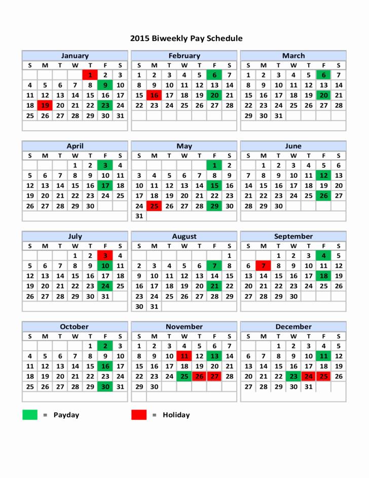 Biweekly Pay Schedule Template Elegant 2015 Biweekly Pay Schedule Free Download