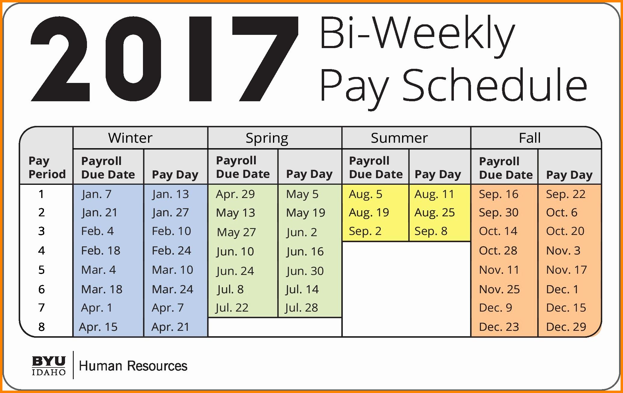 Biweekly Pay Schedule Template Fresh 7 Bi Weekly Payroll Calendar
