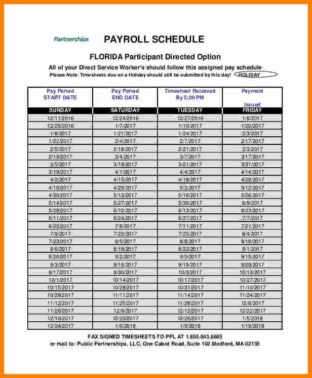 Biweekly Pay Schedule Template Fresh 8 Payroll Calendar Template