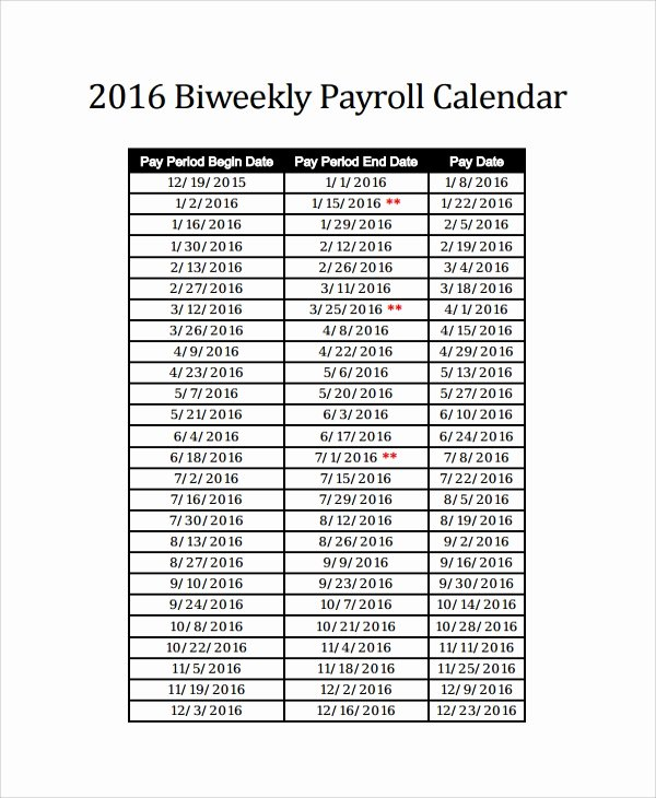 Biweekly Pay Schedule Template Lovely Sample Payroll Calendar Template 9 Free Documents