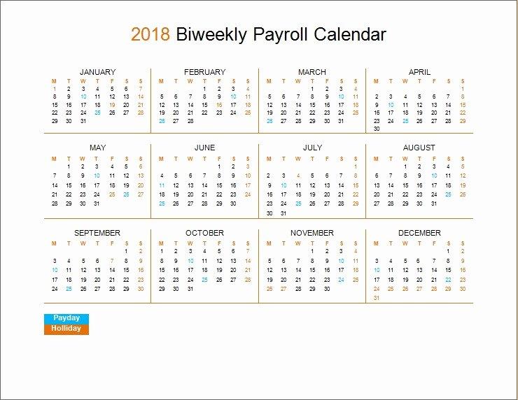 Biweekly Pay Schedule Template Luxury 2018 Biweekly Payroll Calendar Template