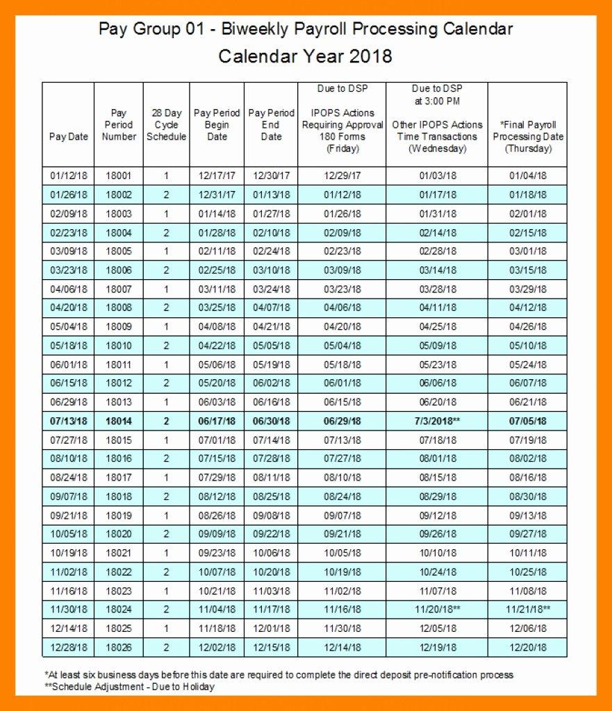 Biweekly Pay Schedule Template Luxury Biweekly Payroll Calendar Excel
